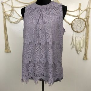 Muted lavender purple lace high neck tank top xl